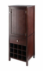 Winsome Wood Home Brooke Jelly Cupboard 3-section Cabinet Walnut