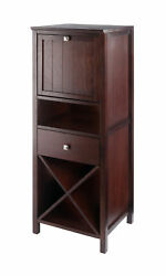 Winsome Wood Home Brooke Jelly Cupboard 4-section Cabinet Walnut