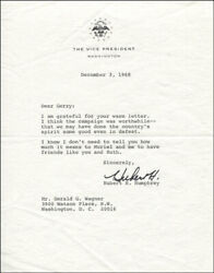 Hubert H. Humphrey - Typed Letter Signed 12/03/1968
