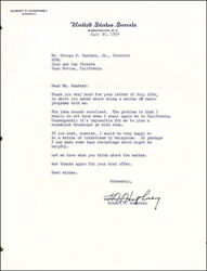 Hubert H. Humphrey - Typed Letter Signed 07/30/1959