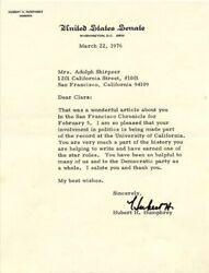 Hubert H. Humphrey - Typed Letter Signed 03/22/1976