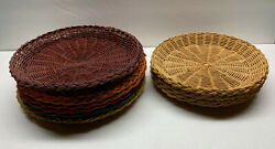 Vintage Wicker Paper Plate Holders 6 Large 4 Small Picnic