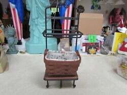 2010 Longaberger Tea Basket Combo With Wrought Iron Stand And Shelf Excellent