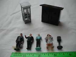 Lot Of 7 Outhouse Telephone Booth Mailbox Figures People, O-27 S Gauge O Scale