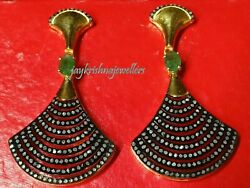 Black Plated 925 Solid Silver And Bright Diamond And Green Emerald Earring Jke- 92