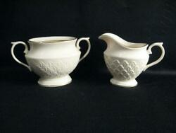 Lenox Jacquard Gold Footed Creamer And Sugar Bowl Without Lid