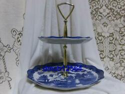 White And Blue Willow 2 Tiered Tidbit Plate Platter Tray Set Asian Oriental