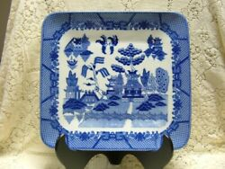 Blue Willow Almost Sq Turkey Ham Platter Tray Oriental Chinese Pagoda Asian