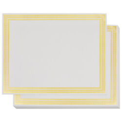 50pcs Blank Certificate White Gold Border Paper - Printer Fit, 8.5 X 11 Inches