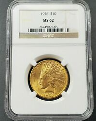 1926 10 Gold Indian Us Pre-1933 Type Coin Ms62 Ngc Bu Certified Uncirculated