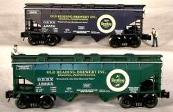 Rmt/ready Made Trains 2-bay Covered Hopper Old Reading Brewery Inc 2/pk. O Gauge