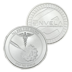 NEW 1 oz Envela .999 AG Silver Round BU Vaccine Stop the Spread IN STOCK $35.00