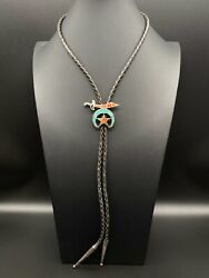 Vintage Zuni Sterling Silver Masonic The Shriners Turquoise Coral Bolo