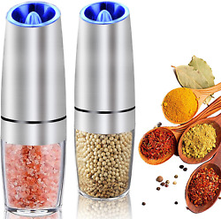 Premium Gravity Electric Salt And Pepper Grinder Set Of 2 | Battery Powered