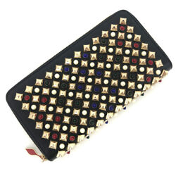 Christian Louboutin Long Wallet With Multi-studs Round Zip Razor Black Women And039s