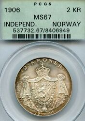 Norway 1906 Silver 2 Kroner, Incredible Quality Pcgs Ms-67