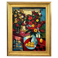 G. Poppitto, Large Red Expressionist Still Life Oil On Canvas, Flowers And Pears