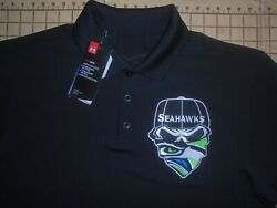 MENS LARGE UNDER ARMOUR BLACK SEAHAWKS ADORNED LS POLO SHIRT NWT $27.00