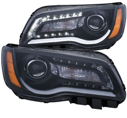 Anzo 2011-2014 For Chrysler 300 Projector Headlights W/ Plank Style Design Black