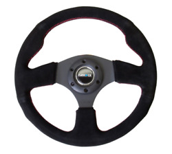 Nrg Reinforced Steering Wheel 320mm Suede W/red Stitch Rst-012s-rs