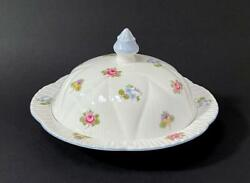 Shelley Dainty Rose Pansy Forget Me Not Muffin / Butter Dish English Bone China