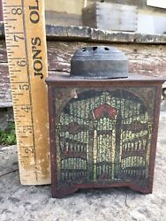 Antique Mechanical Tin Toy Music Box Canary Trainer Germany Original Early 1900