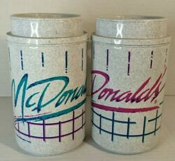 2 Vintage Mcdonalds 1992 Travel Plastic Lidded Thermo Mug Hot/cold Pink And Blue