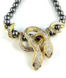 Roberto Cavalli Italy Faux Grey Pearl Necklace Double Snake Serpent Cz Pendant