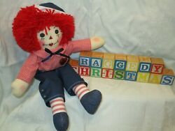 Primitive 15 Raggedy Andy Doll Vintage Wooden Blocks Raggedy Christmas
