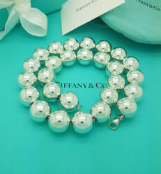 And Co. Rare Silver Extra Large 16 Mm Bead Ball 18.25 Necklace Hallmark