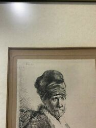 Rembrandt Can Rijn.bust Of A Man Wearing A High Cap Etching