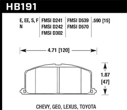 Hawk 87 For Toyota Corolla Fx16 Hp+ Street Front Brake Pads Hb191n.590