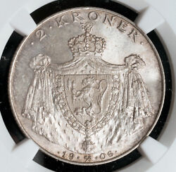 1906, Norway, Haakon Vii. Silver 2 Kroner Coin. National Independence Ngc Ms66