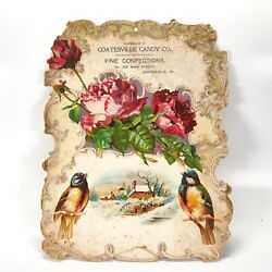 Victorian Advertising Sign Coastesville Candy Fine Confections Die Cut Embossed