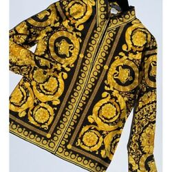 """Gianni Versace 91"""" Barocco Collection Gold And Black Button Up Vintage 1991"""
