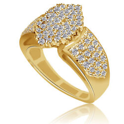 14k Yellow Gold Vintage 1ct Diamond Ring Estate Cluster Rounds Baguettes