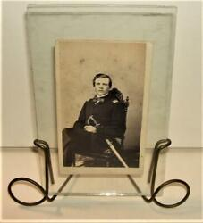 Cdv Photograph Of Civil War Union Navy Officer With Sword In Unique Frame