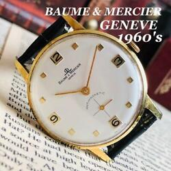 Baume And Mercier Manual Winding Menand039s Antique Wrist Watch 1960 Ship From Japan