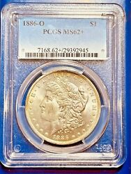 1886-o Pcgs Ms 62+ Only 16 Morgan Silver Dollar Graded Certified U.s. Currency