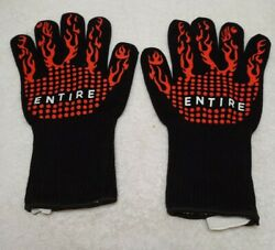 Entire Bbq Grill Gloves, Extreme Heat Resistant, Insulated Fireproof Silicone