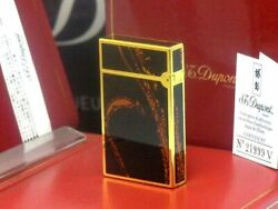 S.t. Dupont Glossy Yellow Gold Genuine Lacquer Line Gas Lighter Dupont Cigars