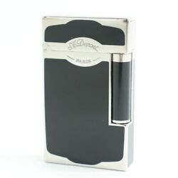 S.t. Dupont Line Virtual 16787 Double Burner Gas Lighter Black Silver Made In