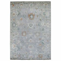 9and03910x14and0391 Hand Knotted Pure Velvety Wool Light Gray Angora Oushak Rug R67483