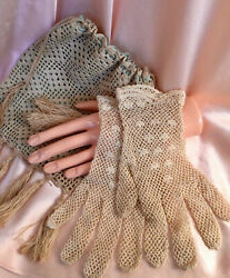 Vintage Antique Hand Crocheted Ladies Gloves And Purse Reticule Bag