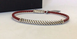 David Yurman Men's Cable Metro Red Leather And Silver Bracelet Nwt 375 Sz L