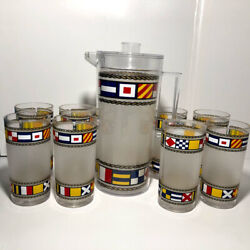 Vintage H. J. Stotter Acrylic Cups Tumblers Pitcher Set Preowned