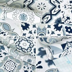 78.7quot; x 17.7quot; Blue Tile Contact Paper Blue Flower Wallpaper Peel and Stick Wall