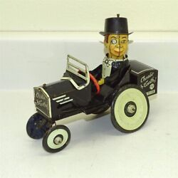 Vintage Tin Litho Marx Charlie Mccarthy Crazy Bump Nand039 Go Car Wind Up Toy Works