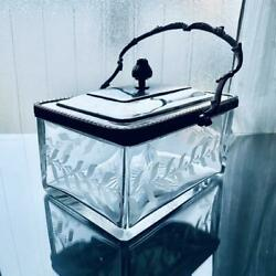 Old Baccarat Accessory Case Art Nouveau Flower Pattern Crystal Extremely Rare