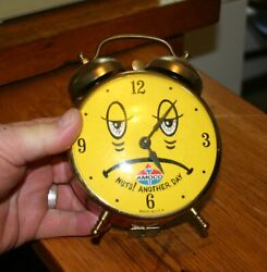 Vtg Alarm Clock Amoco Petroleum Nuts Another Day Sad Face Lux Time Robert Shaw